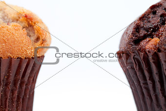 Close up of a chocolate muffin and a regular muffin