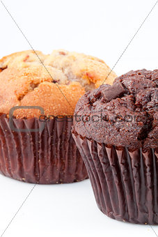 Close up of two muffins