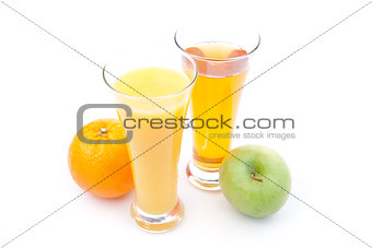 Glass of apple juice near a glass of orange juice