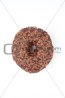 Close up of a chocolate doughnut