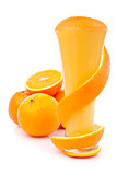 Orange peel wrapping a glass