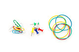 Stationery whose pushpins elastics paperclips