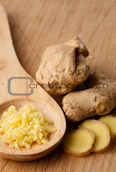 Close up of different forms of ginger