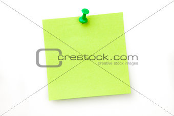 Green pinned adhesive note
