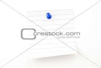 Blank paper with blue pushpin