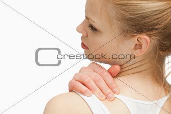 Close up of a woman massaging her nap