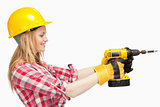 Woman using an electric screwdriver