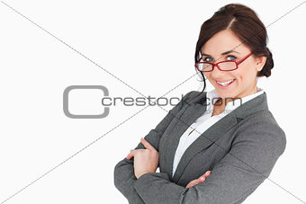 Attractive secretary with arms folded