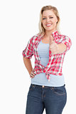 Cheerful blonde woman wearing a plaid shirt
