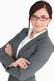Attractive young business woman wearing glasses