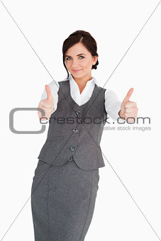 Beautiful businesswoman the thumbs-up