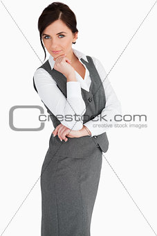 Attractive woman in suit posing