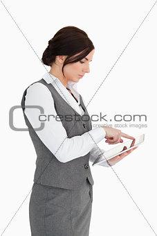 Business woman using a digital computer