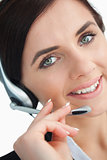 Beautiful businesswoman with a headset