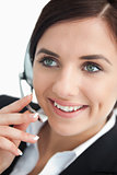 Happy businesswoman using a headset