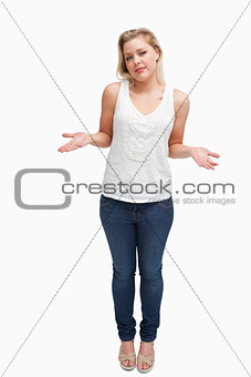 Blonde woman extending her forearms