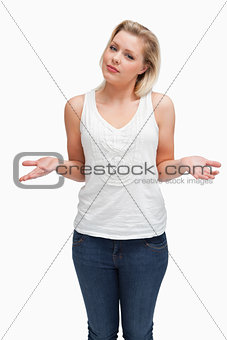 Attractive blonde woman extending her forearms