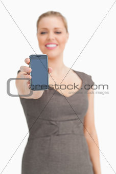 Smartphone being showed by a woman