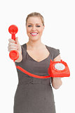 Woman showing a phone