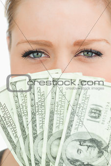 Pretty woman with dollars banknotes