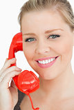 Woman smiling at a phone