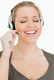 Woman speaking with her headset