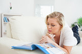 Woman reading a magazine