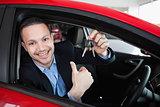 Happy man holding car keys