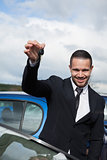 Happy man holding car keys