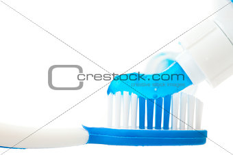 Close up of a toothpaste on a toothbrush