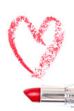 Red trace of lipstick forming a heart