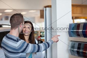 Customers choosing a colour