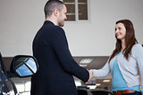 Salesman shaking hand of a client
