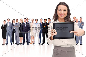 Woman showing a screen