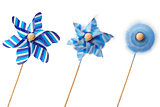 Three blue pinwheels