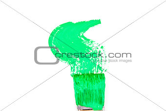 Green brush stroke forming a zigzag