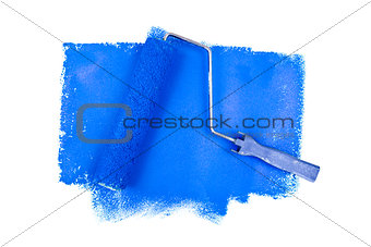 Paint roller on blue traces