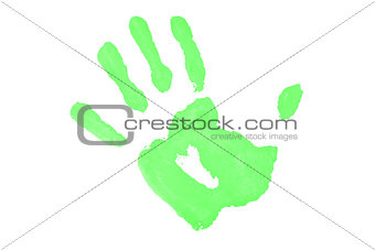 One green handprint