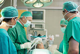 Surgical team working together