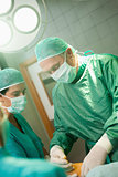 Surgeon holding a scalpel