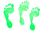 Three green footprints
