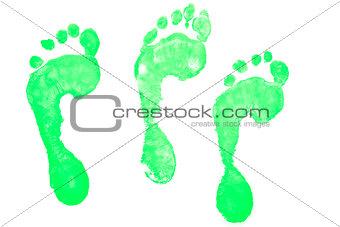 Three green footprints