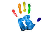 One multicolred handprint