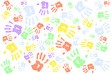 Lots of multi colored handprints