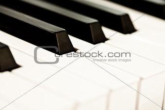 Close up of keyboard of a piano