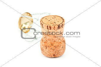 Close up of a cork and iron wire