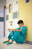 Woman surgeon sitting