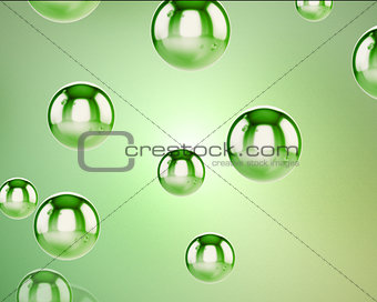 Green water sphere falling
