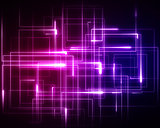 Multiple pink and blue geometric lights