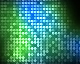 Multiples green and blue dots